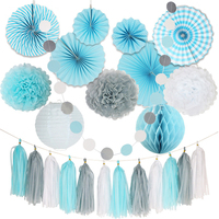 24Pcs/Set Mix Size DIY White Gray Blue Tissue Paper Fan Paper Pom Pom Wedding Birthday Party Holiday Room Decor Supplies