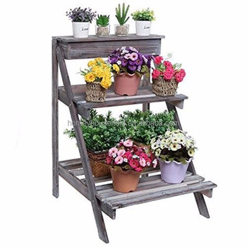 Home Garden Wood 2 Tier Plant Stand Orchid Plants Pot Rack