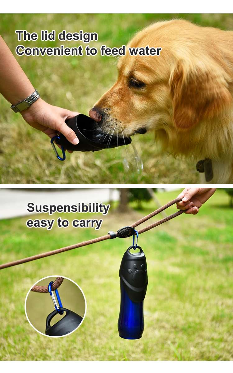 Pet Life Stainless Steel Dog Travel Water Bottle Portable For Walking