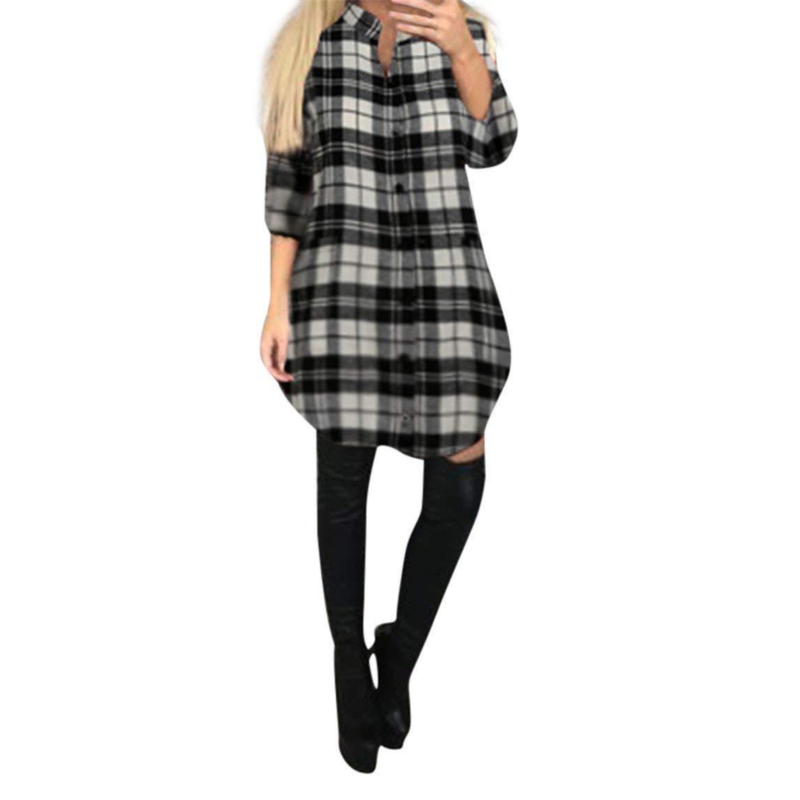 Nadition Dress Clearance !!! Womens Mini Dress Ladies Long Sleeve Plaid Lattice Dress