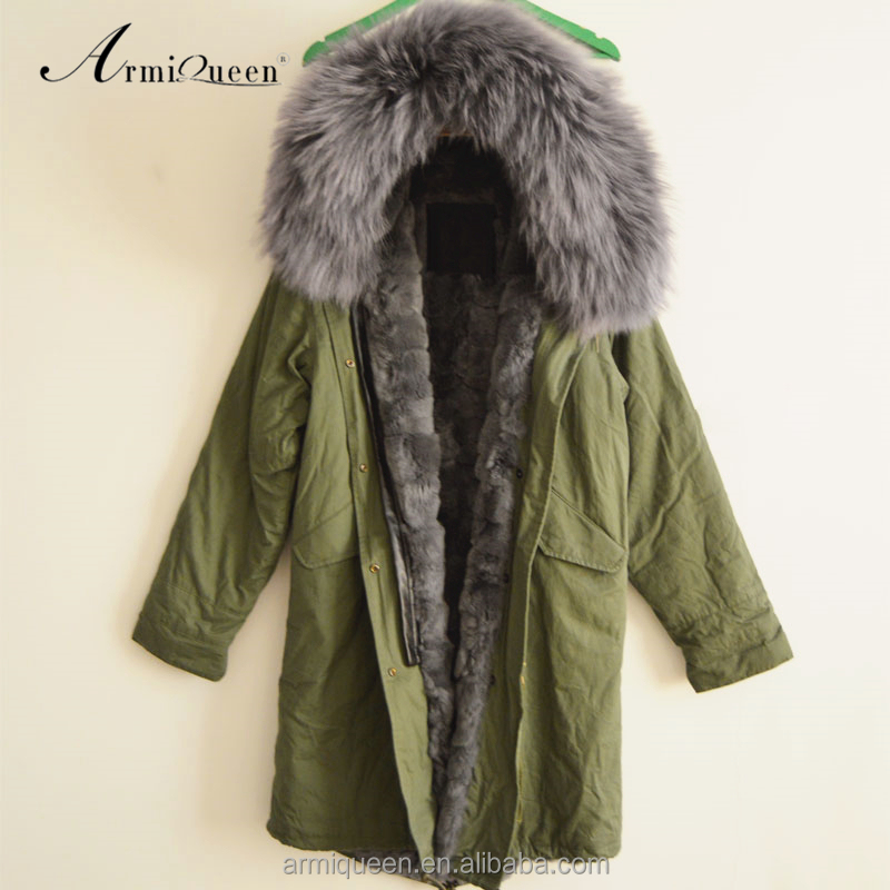 2017 Factory price ladies long style grey real rex rabbit lined parka for winter, army green raccoon fur hooded jacket coat