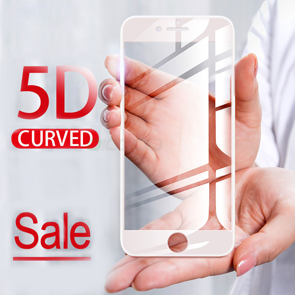 5D Cong Full Bìa Tempered Glass đối với iPhone 8 7 6 6 s X 10 9 H Screen Protector Glass Đối Với iPhone 7 6 6 s Cộng Với Tempered Glass