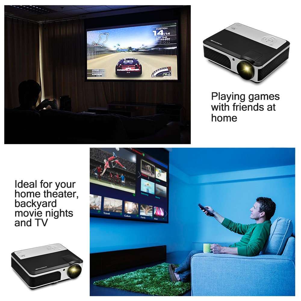 Caiwei A5 Wireless 2600 Lumens Portable WIFI Black Projector with USB Port