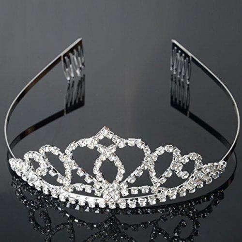 USA Seller Follsy Peach Heart Flower Shape Tiara Crown Headband Comb Pin Shining Rhinestone Wedding Bridal Bride Party Birthday Tiaras