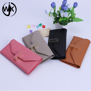 2017 new fashion direct low moq high cow leather quality shine slim wallet