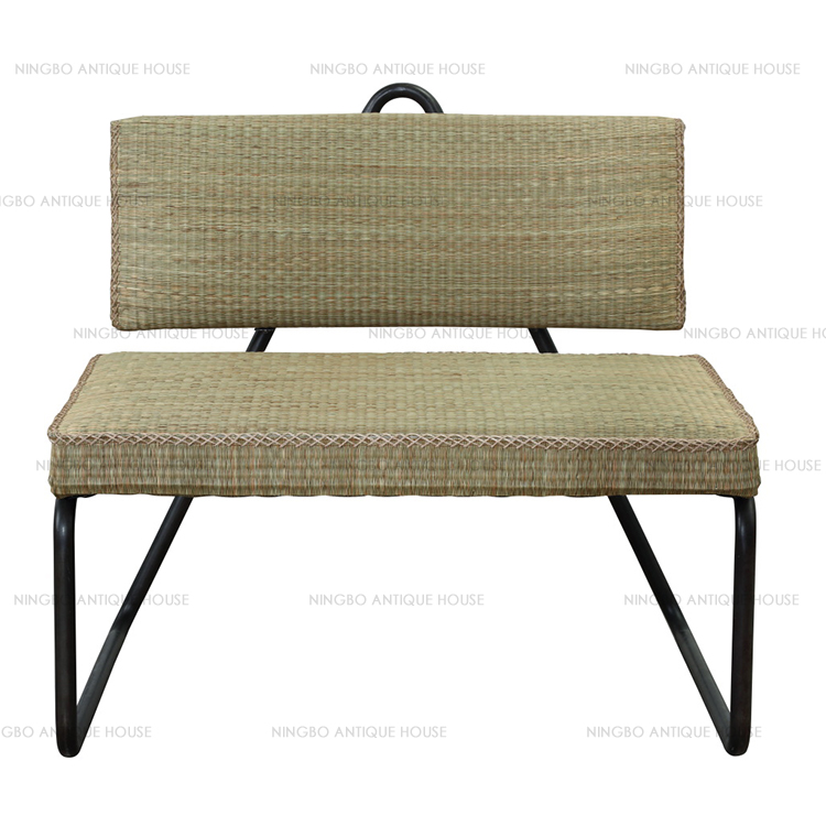 China manufacture professional steel natural grass 83*74*78cm lounge chair outdoor
