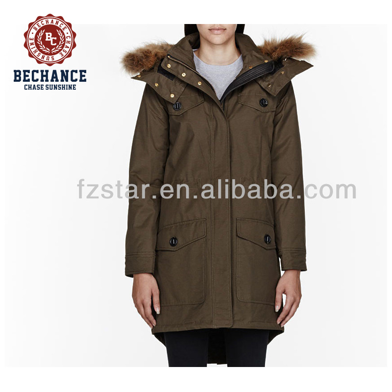 army green women padded winter parka jacket parka coat