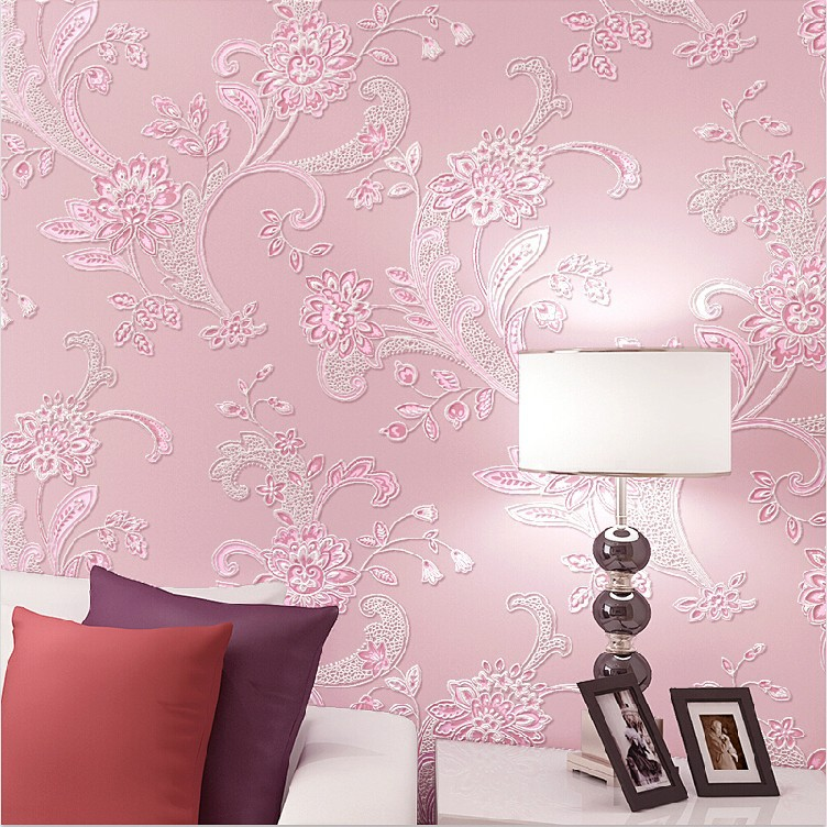 Exquisite Wall Coverings From China: Promotion Exquisite Embossed Floral Wallpaper Wall