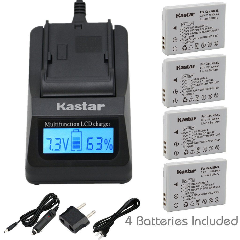 Kastar Fast Charger + NB-5L Battery (4-Pack) for Canon PowerShot S100, S110, SD700, SD790, SD800, SD850, SD870 IS, SD880, SD890, SD900, SD950, SD970, SD990 IS, SX200 IS, SX210 IS, SX220 IS, SX230 HS