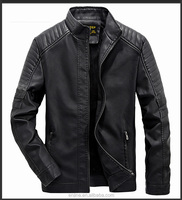 high quality washable leather small collar men jacket for autumn winter