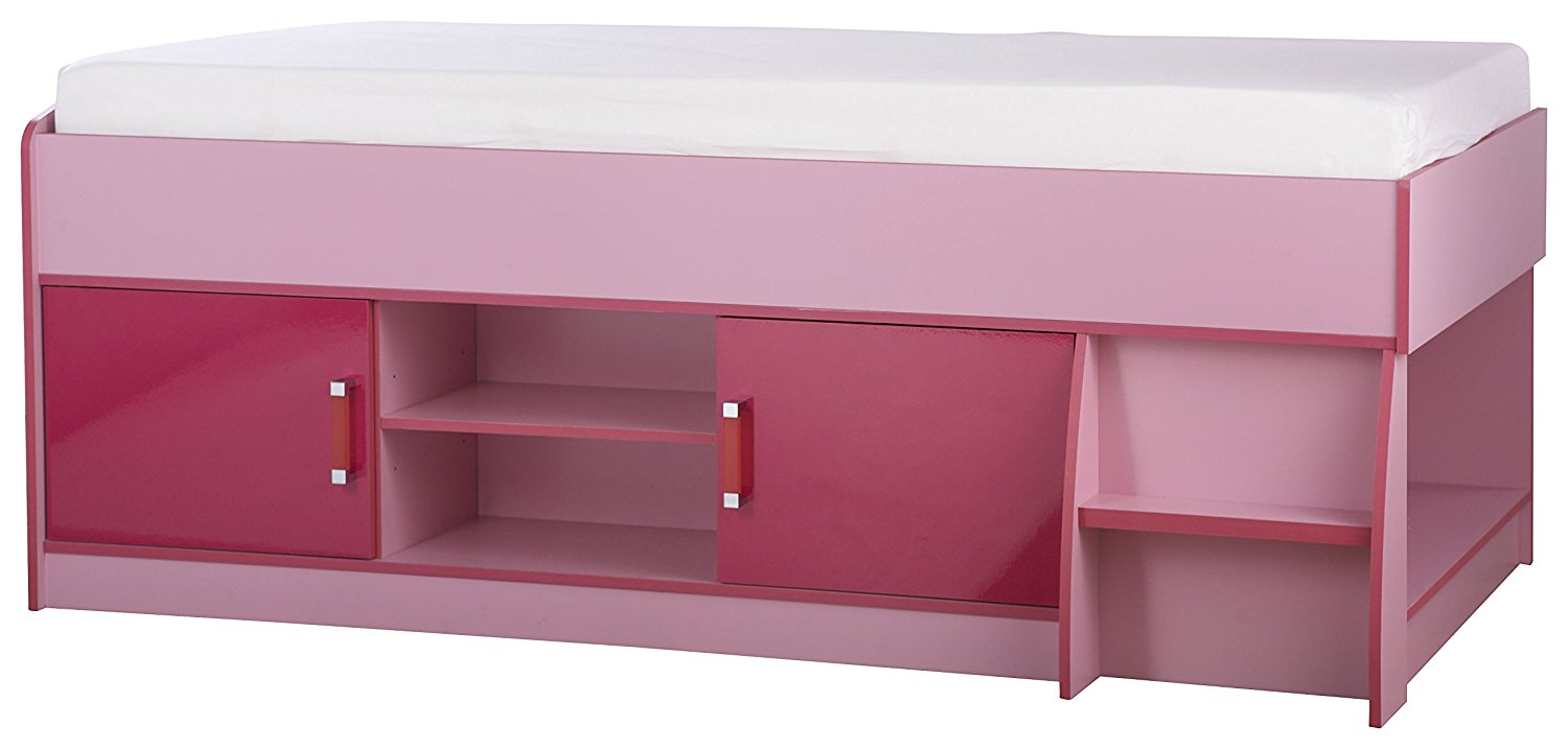 Low cabin bed with storage in pink