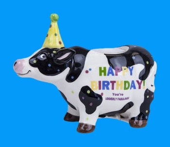 Happy Birthday Funny Cow Animal Resin Candle Holder For Party Gifts