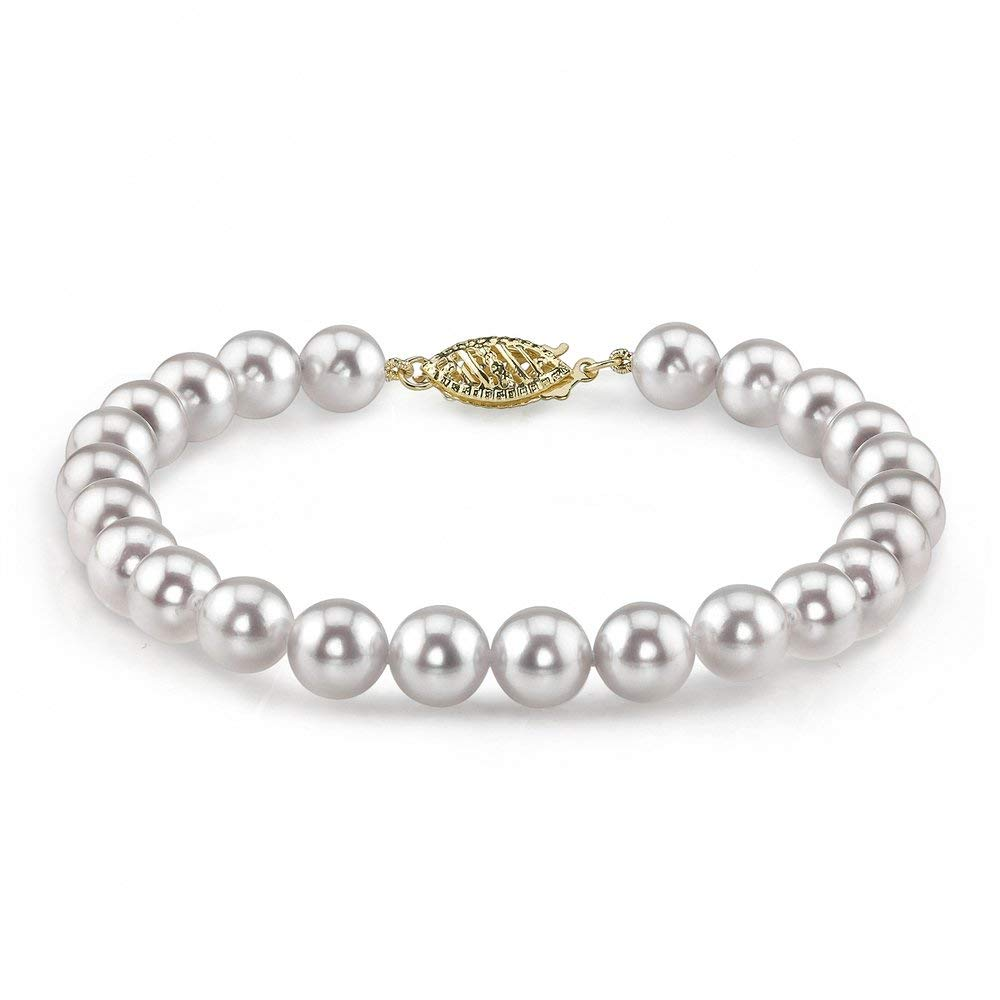 The Pearl Source 14K Gold 6.5-7.0mm Japanese Akoya Saltwater White Cultured Pearl Bracelet