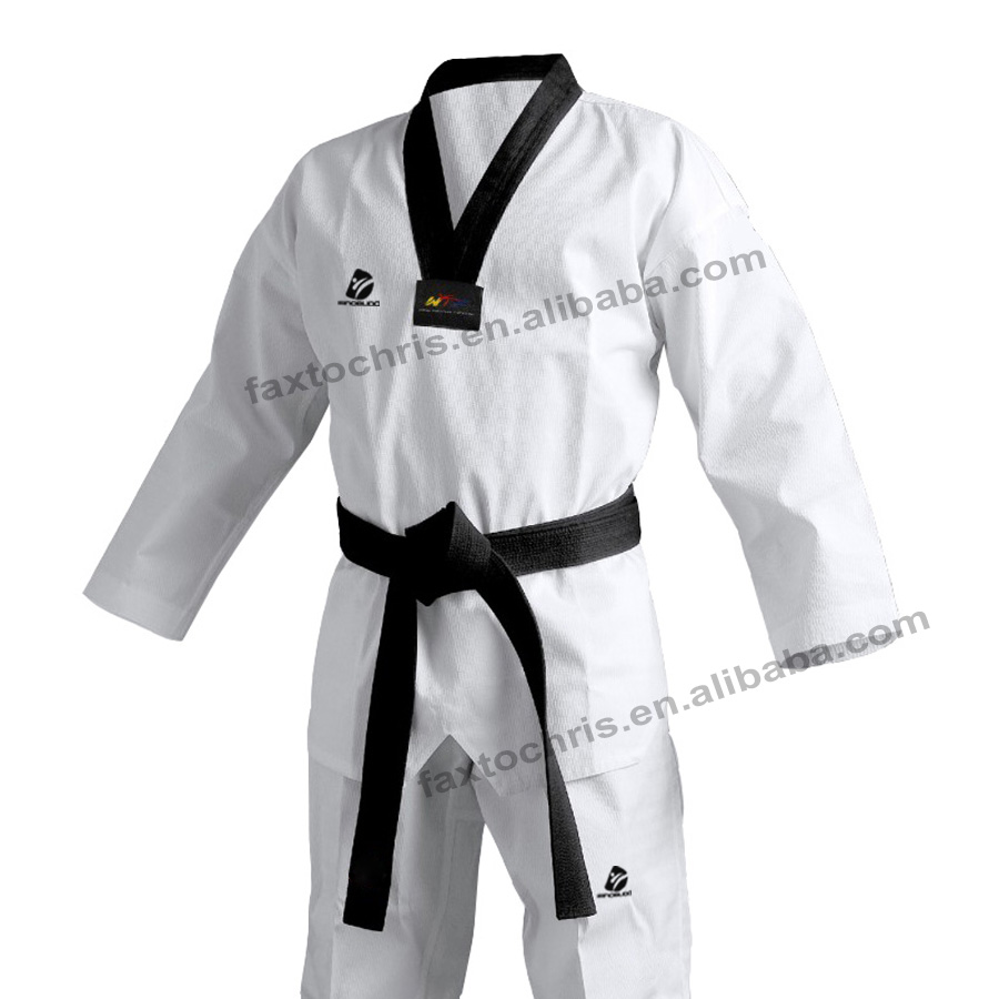 Custom black neck taekwondo dobok with embroidery