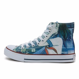 wholesale custom china girls fashion printed high neck women canvas shoes
