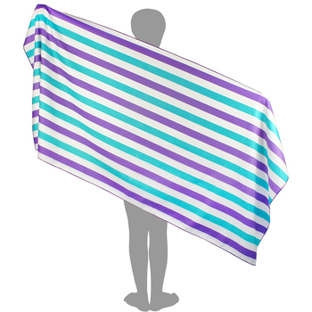 China Wholesale Bulk Quick Dry Sand Free Cabana Blue White microfiber stripe beach towel with Mesh Bag