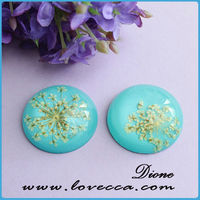 25mm Light Blue Dry Flower Cabochon,Resin Pressed Flower Cabochon Beads,Blue and White