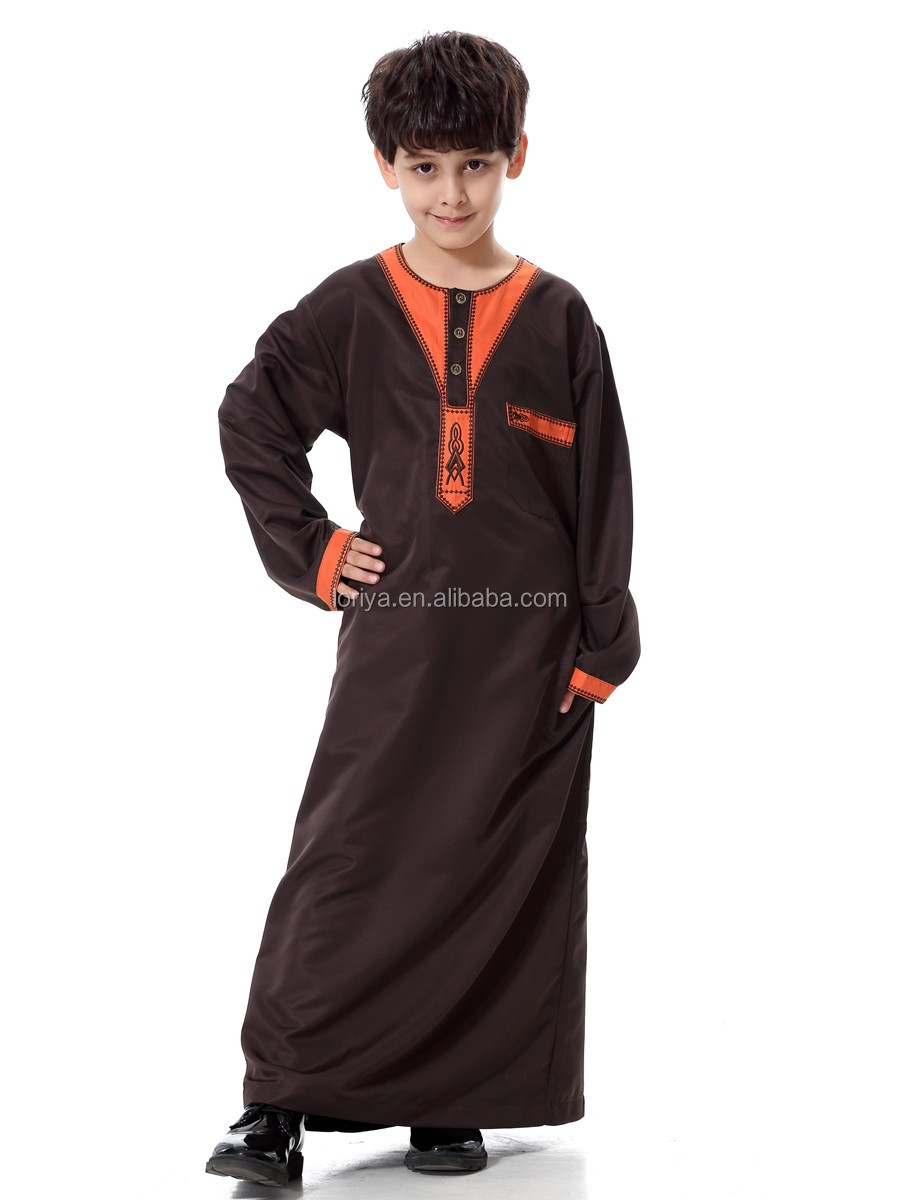 Worth-have handsome boys wear robe dubai abaya long sleeve maxi kaftan kimono jubah in stock islamic boys muslim dubai abaya