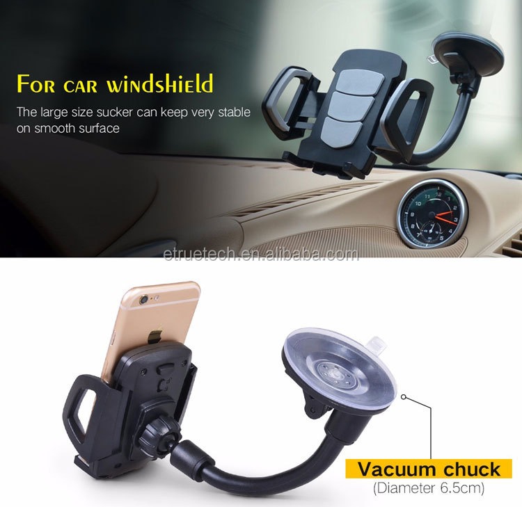 360 Degree Universal Car Mount Phone Holder; Windshield Dashboard Suction Cup Car Phone Holder; ABS Gel Pad Sticky Phone Holder