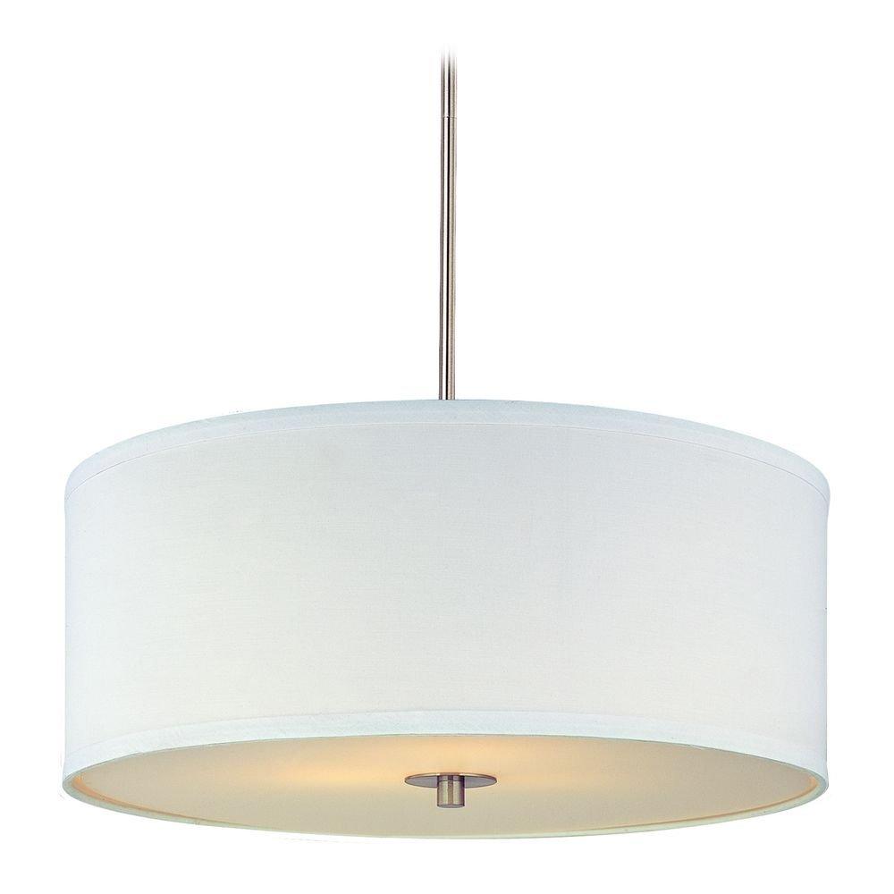 Modern Drum Pendant Light with White Shade in Satin Nickel Finish