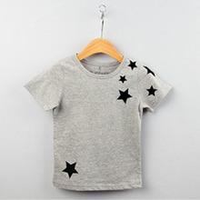 Children Kids Boys Korean Version Star Pattern Short-Sleeved Cotton T-shirt 2-7Y