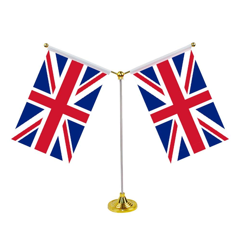 Amosfun UK Table Flag Britain Table Flag Desk Decoration with Base for Party Conferences