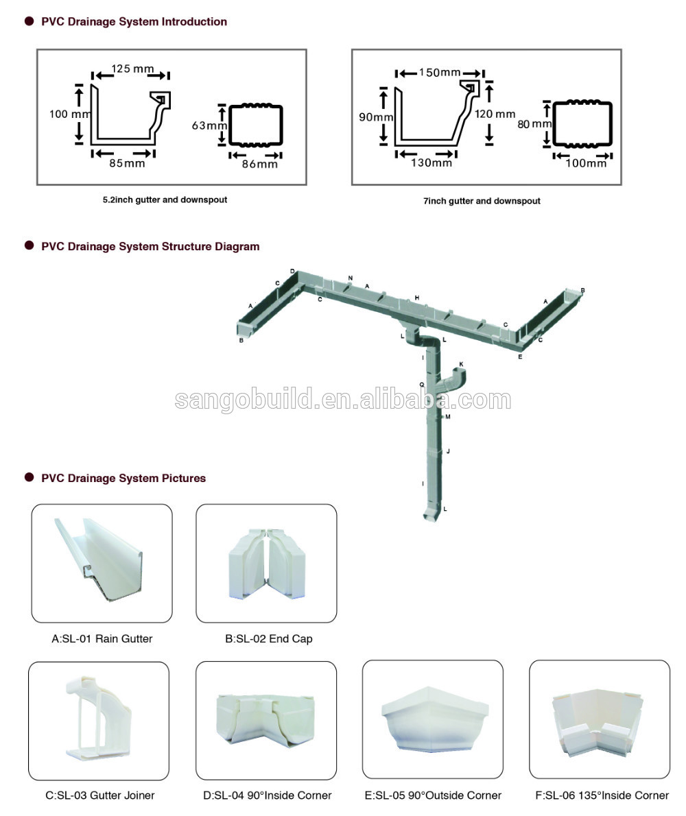 Pvc rain gutter system hangers elbows downspout diverter for One pipe drainage system