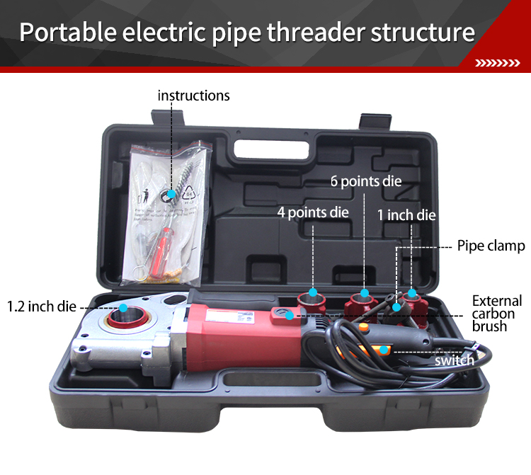 ODETOOLS GMTE-02 Portable Fittings Pipe Threader Electric Pipe Threading Machine