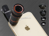 clip mobile phone 4 in 1 lens set telescope macro wide angle fisheye lens for Samsung iphone Phone camera