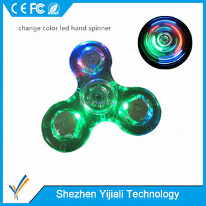 Transparent crystal 3-bar change color led air spinner for Autistic people