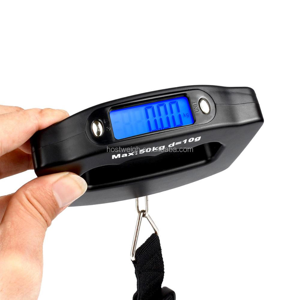110LB 50kg/10g Portable Luggage Scale for Suitcase Traveling Bag Baggage Weighs Digital Fishing Scale Hanging Hook LCD Back-lit