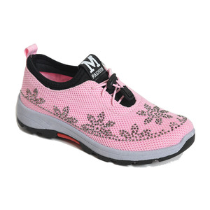 2018 cheap price shoe mesh upper fake diamonds decorated PVC sole slip on girls shoe