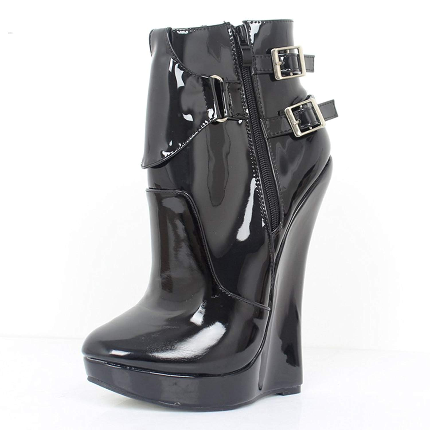 8cdc7949577 Get Quotations · JiaLuoWei Women Ankle Boots High Wedge Heels Zip Buckle  Straps Unisex Sexy Fetish Boots 18cm High