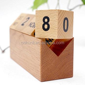Durable Wooden Cubes Perpetual Calendar Desk Organizers Decorations