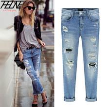 2015 Nova Primavera Mulheres Jeans Rasgado Buracos Moda Famale Comprimento Total Reta Meados Cintura Denim Lavado Calças de Algodão Calças