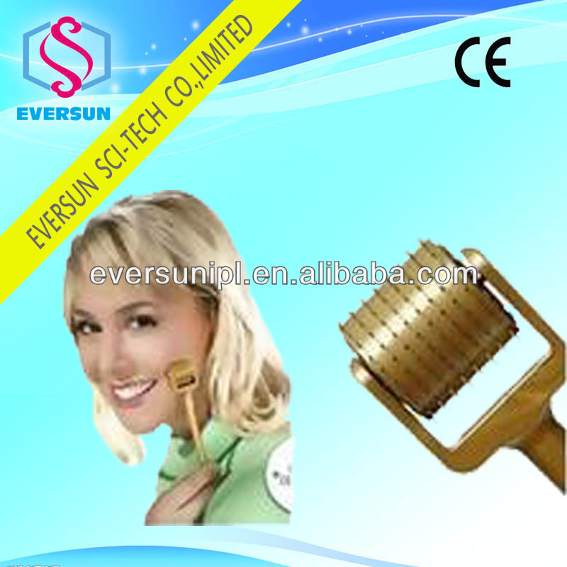 golden seamless micro needle acne removal derma roller// dermis skin roller needles