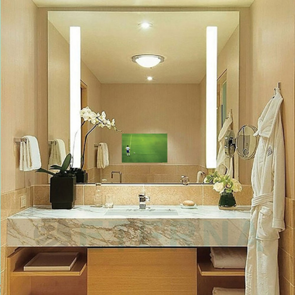 Hotel bathroom lighted frameless mirror for decoration for Mirror hotel
