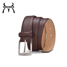 Zine alloy buckle casual genuine leather brown fabric men's black belt