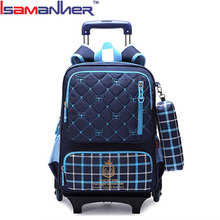 Isamanner new design kids detachable trolley school bags of latest designs