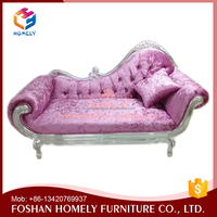 High quality leather red oak wood chaise lounge sofa chair
