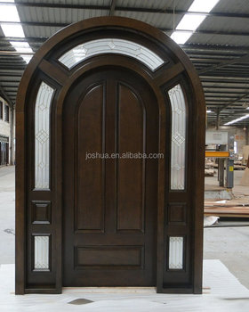 Arched Top African Mahogany Solid Wood Entry Door