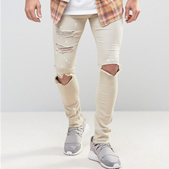 OEM italian brand manufacturers Skinny Jeans With Paint Splat In Ecru ripped stretch tan jeans 0007