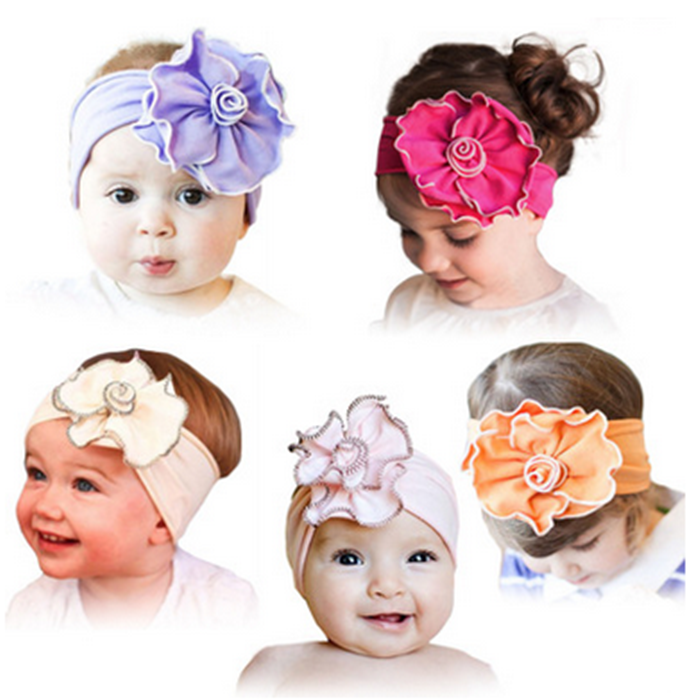 Plain Baby Girls Handmade Pure Color Fabric Flower Headbands