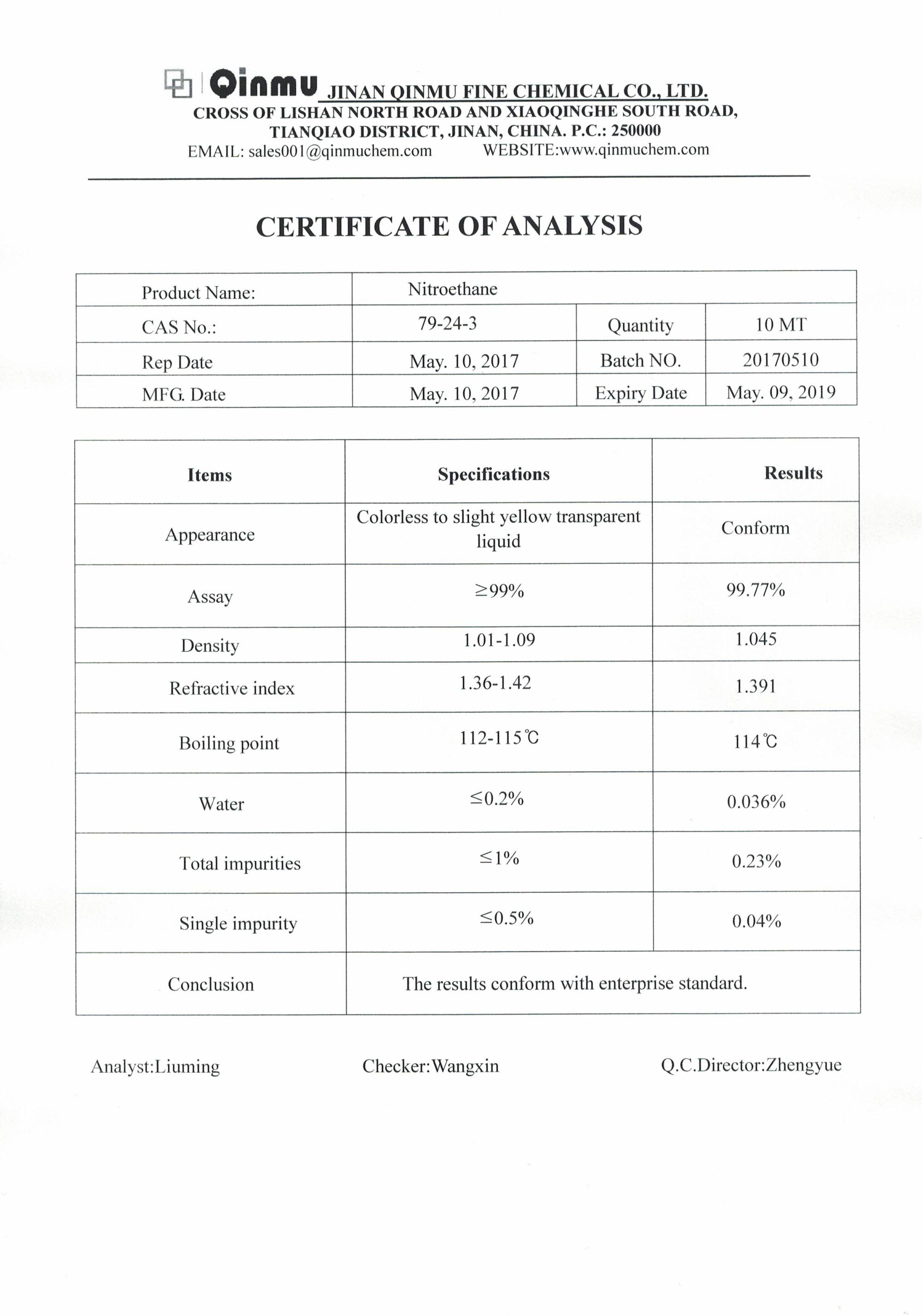 China  best  Nitroethane 79-24-3  99.9%