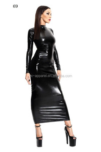 Women faux Leather clubwear dresses fetish erotic backless bodycon long dress