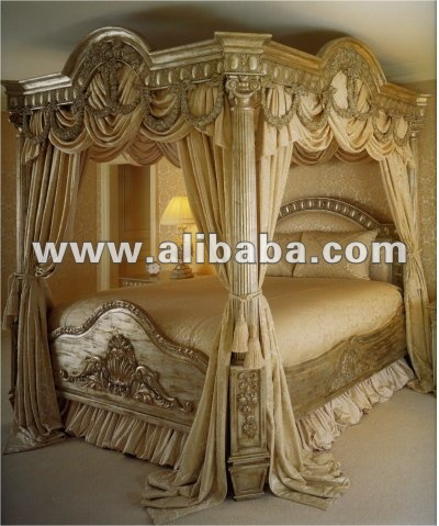 Antique Louis Xv Carving Bed/solidwood Carving Kingsize Bed/canopy ...
