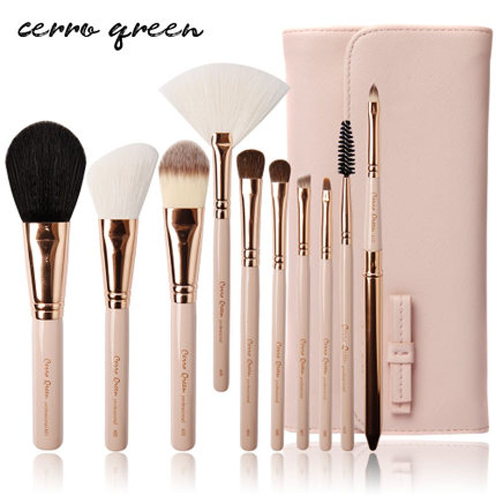 CERROQREEN 10pcs Makeup Brushes Cosmetic Brush Set pony hair goat hair leather traverl pouch bag case