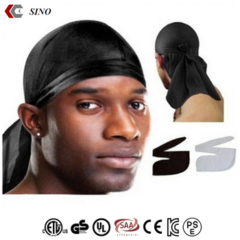 Men s Durag doo rag Black kerchief hood coif satin hair scarf ethnic custom  bandana pirate hat 0866df39148