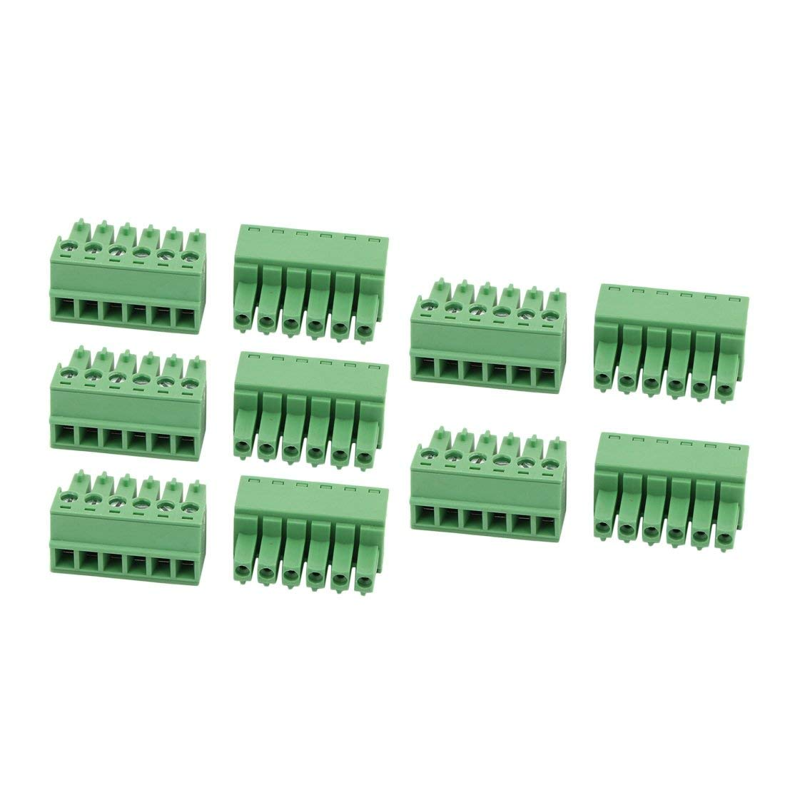 uxcell 10Pcs AC300V 8A 3.81mm Pitch 6P Terminal Block Wire Connection for PCB Mounting