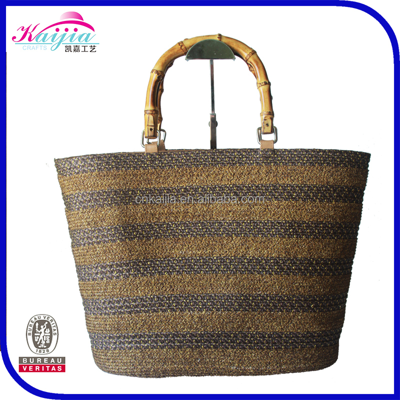 Customized hign quality popular straw bag girls handbag with bamboo handle